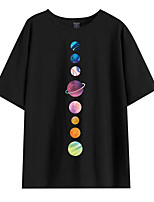 cheap -Women's T shirt Letter Print Round Neck Tops Cotton Basic Basic Top White Black Purple