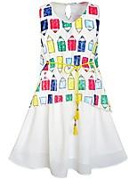 cheap -kc72 girls dress cartoon colorful pencil sash 2-in-1 size 6 white
