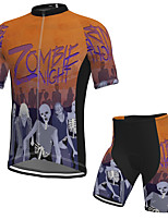 cheap -Men's Short Sleeve Cycling Jersey with Shorts Spandex Orange Skull Bike Breathable Quick Dry Sports Graphic Mountain Bike MTB Road Bike Cycling Clothing Apparel / Stretchy / Athletic / Athleisure