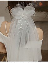 cheap -Two-tier Cute Wedding Veil Shoulder Veils with Crystals / Rhinestones 15.75 in (40cm) Lace / Tulle