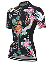 cheap -21Grams Women's Short Sleeve Cycling Jersey Spandex Black Floral Botanical Bike Top Mountain Bike MTB Road Bike Cycling Breathable Sports Clothing Apparel / Stretchy / Athleisure