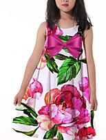 cheap -Kids Little Girls' Dress Flower Print White Knee-length Sleeveless Flower Active Dresses Summer Regular Fit 5-12 Years