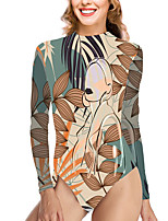 cheap -Women's New Vacation Fashion One Piece Swimsuit Color Block Leaf Tummy Control Print Bodysuit Normal High Neck Swimwear Bathing Suits Khaki / Party