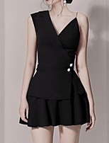 cheap -Two Piece Little Black Dress Elegant Homecoming Cocktail Party Dress V Neck Sleeveless Short / Mini Chiffon with Pleats Pearls 2021