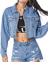 cheap -Women's Solid Colored Patchwork Active Spring &  Fall Jacket Short Going out Long Sleeve Denim Coat Tops Blue