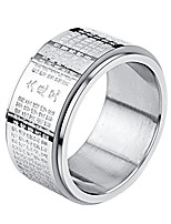 cheap -Stainless Steel Buddhist Rings for Men Engraved Chinese Great Compassion Mantra Wide Bands Size 7
