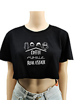 cheap -Women's Crop Top Tee / T-shirt Crop Top Crew Neck Letter Printed Sport Athleisure T Shirt Top Short Sleeves Breathable Soft Comfortable Everyday Use Street Casual Daily Outdoor