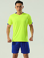 cheap -Men's Hiking Tee shirt with Shorts Short Sleeve Clothing Suit Outdoor Quick Dry Lightweight Breathable Stretchy Autumn / Fall Spring Summer Spandex Polyester Red Blue Pink Fishing Climbing Camping