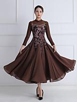 cheap -Ballroom Dance Dress Printing Crystals / Rhinestones Women's Training Performance 3/4 Length Sleeve Mesh Pleuche Imitation Silk