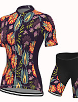 cheap -Women's Short Sleeve Cycling Jersey with Shorts Spandex Black Floral Botanical Bike Breathable Quick Dry Sports Graphic Mountain Bike MTB Road Bike Cycling Clothing Apparel / Stretchy / Athletic