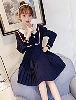 cheap -girls' dresses spring 2021 new children's clothing, big girls, western style, korean style long-sleeved children's college style skirt