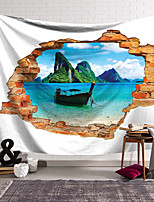 cheap -Wall Tapestry Art Decor Blanket Curtain Hanging Home Bedroom Living Room Decoration Polyester Brick Boat Lake Mountain