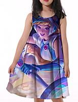 cheap -Kids Little Girls' Dress Graphic Print Blue Knee-length Sleeveless Active Dresses Summer Regular Fit 5-12 Years