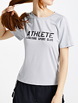 cheap -Women's Tee / T-shirt Mesh Patchwork Crew Neck Spandex Letter Printed Sport Athleisure T Shirt Top Short Sleeves Quick Dry Breathable Soft Comfortable Everyday Use Street Casual Daily Outdoor