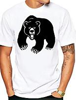cheap -Men's Tees T shirt Hot Stamping Graphic Prints Bear Animal Print Short Sleeve Daily Tops Basic Casual White