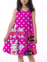 cheap -Kids Little Girls' Dress Rabbit Polka Dot Letter Animal Print Fuchsia Knee-length Sleeveless Flower Active Dresses Summer Regular Fit 5-12 Years