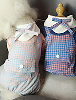 cheap -Dog Cat Shirt / T-Shirt Jumpsuit Plaid Bowknot Basic Elegant Cute Dailywear Casual / Daily Dog Clothes Puppy Clothes Dog Outfits Breathable Dark Blue Light Blue Costume for Girl and Boy Dog Cotton S