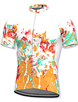 cheap -21Grams Men's Short Sleeve Cycling Jersey Spandex Orange Bike Top Mountain Bike MTB Road Bike Cycling Breathable Quick Dry Sports Clothing Apparel / Athleisure