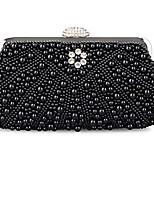 cheap -women's evening bag pearl crystal bag shell handbag fit wedding party beautiful luxury purses (new black)