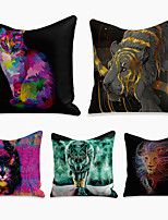 cheap -5 pcs Linen Pillow Cover, Animal Square Zipper Polyester Traditional Classic