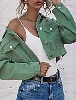 cheap -Women's Solid Colored Fall & Winter Denim Jacket Short Daily Long Sleeve Denim Coat Tops Green