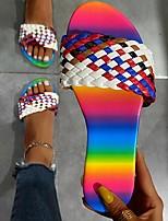 cheap -Women's Sandals Flat Heel Round Toe PU Color Block Black Red Blue