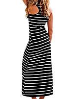 cheap -primoda women's sleeveless scoop neck racerback maxi dress loose stripped maxi sundress(xl black)