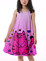 cheap -Kids Little Girls' Dress Cat Graphic Animal Print Fuchsia Knee-length Sleeveless Flower Active Dresses Summer Regular Fit 5-12 Years