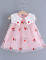 cheap -Toddler Little Girls' Dress Fruit Embroidered Mesh Blushing Pink Beige Knee-length Sleeveless Regular Sweet Dresses Summer Loose 2-4 Years