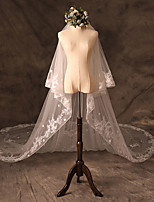cheap -Two-tier Cute Wedding Veil Cathedral Veils with Embroidery 62.99 in (160cm) Tulle