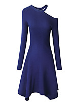 cheap -A-Line Minimalist bodycon Homecoming Cocktail Party Dress Jewel Neck Long Sleeve Knee Length Spandex with Sleek 2021