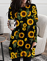 cheap -Women's Shift Dress Short Mini Dress Black Yellow Long Sleeve Floral Color Block Print Fall Spring Round Neck Casual 2021 S M L XL XXL 3XL
