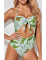 cheap -Women's One Piece Monokini Swimsuit Push Up Print Animal Green Swimwear Padded Crop Top Bathing Suits New Casual Sexy