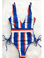 cheap -Women's One Piece Monokini Swimsuit Push Up Print Color Block Stripe As shown Swimwear Padded Strap Bathing Suits New Vacation Fashion / Sexy