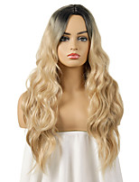 cheap -Synthetic Wig Body Wave Asymmetrical Middle Part Wig Medium Length Black / Gold Synthetic Hair Women's Fashionable Design Cosplay Party Blonde Black