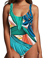 cheap -Women's One Piece Monokini Swimsuit Tummy Control Print Tropical Leaf Blue Green Swimwear Bodysuit Strap Bathing Suits New Fashion Sexy