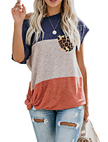 cheap -Women's T shirt Color Block Leopard Round Neck Tops Basic Basic Top Blue Purple Wine