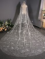 cheap -One-tier Lace Wedding Veil Cathedral Veils with Solid / Paillette 118.11 in (300cm) Tulle