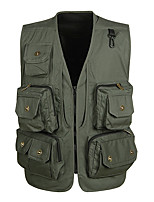 cheap -Men's Hiking Vest / Gilet Fishing Vest Military Tactical Vest Sleeveless Vest / Gilet Jacket Top Outdoor Quick Dry Lightweight Breathable Sweat wicking Spring Summer Cotton Solid Color Black Red Army
