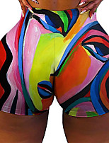 cheap -Women's Colorful Fashion Comfort Holiday Beach Leggings Pants Lines / Waves Graphic Prints Short Sporty Elastic Waist Print Rainbow