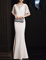 cheap -Mermaid / Trumpet Minimalist Elegant Engagement Formal Evening Dress Illusion Neck Half Sleeve Floor Length Italy Satin with Crystals 2021