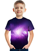 cheap -Kids Boys' Tee Short Sleeve Galaxy Graphic Children Tops Active Purple 3-12 Years