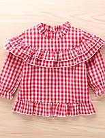 cheap -Kids Little Girls' Dress Plaid Ruffle Red Long Sleeve Active Dresses Summer Regular Fit 2-6 Years