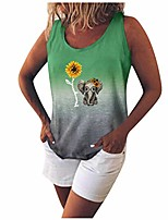 cheap -tie dye tank top women cute elephant sunflower print scoop neck sleeveless shirts loose tuinc tops plus size.s-5xl green