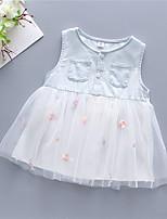 cheap -Kids Little Girls' Dress Cartoon Embroidered Mesh White Yellow Blushing Pink Knee-length Sleeveless Regular Dresses Summer Loose 2-4 Years
