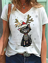 cheap -Women's T shirt Cat Graphic Print V Neck Tops Basic Basic Top White