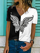 cheap -Women's T shirt Graphic Butterfly Color Block Print V Neck Tops Basic Basic Top Black