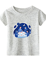 cheap -Kids Boys' T shirt Short Sleeve Blue & White Graphic Daily Wear Print Children Children's Day Summer Tops Active Regular Fit White Black Blue 2-9 Years