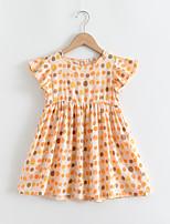 cheap -Kids Little Girls' Dress Polka Dot Graphic Print Yellow Short Sleeve Basic Cute Dresses Regular Fit