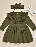 cheap -Kids Little Girls' Dress Solid Colored Print Army Green Knee-length Long Sleeve Active Dresses Summer Regular Fit 2-6 Years
